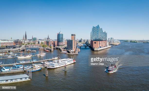 hamburg hafencity aerial view hdr panorama - elbphilharmonie stock pictures, royalty-free photos & images