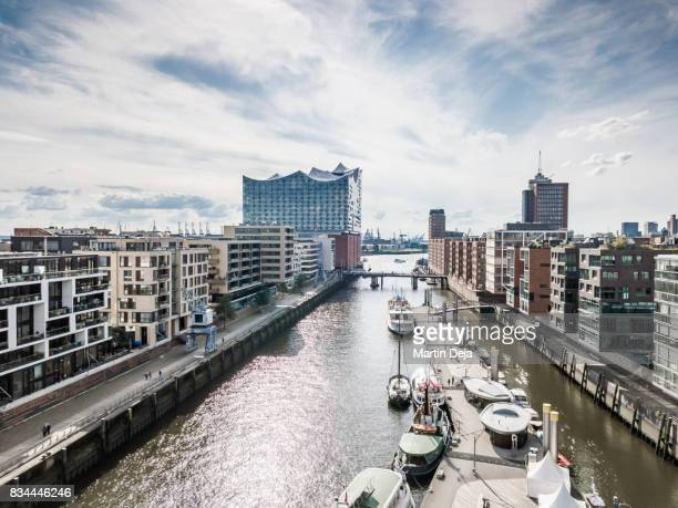 hamburg hafencity aerial view hdr - elbphilharmonie stock pictures, royalty-free photos & images