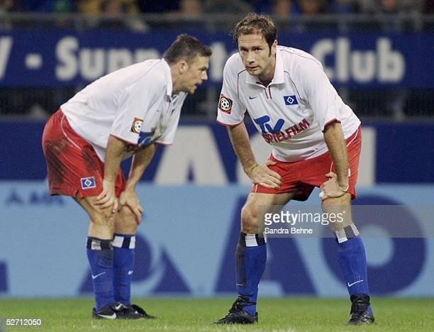 1 BUNDESLIGA 01/02 Hamburg HAMBURGER SV SV WERDER BREMEN 04 ENTTAEUSCHUNG bei Erik MEIJER und Sergej BARBAREZ/HSV