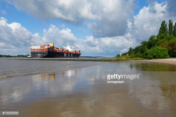 hamburg harbor, germany - elbe river stock photos and pictures