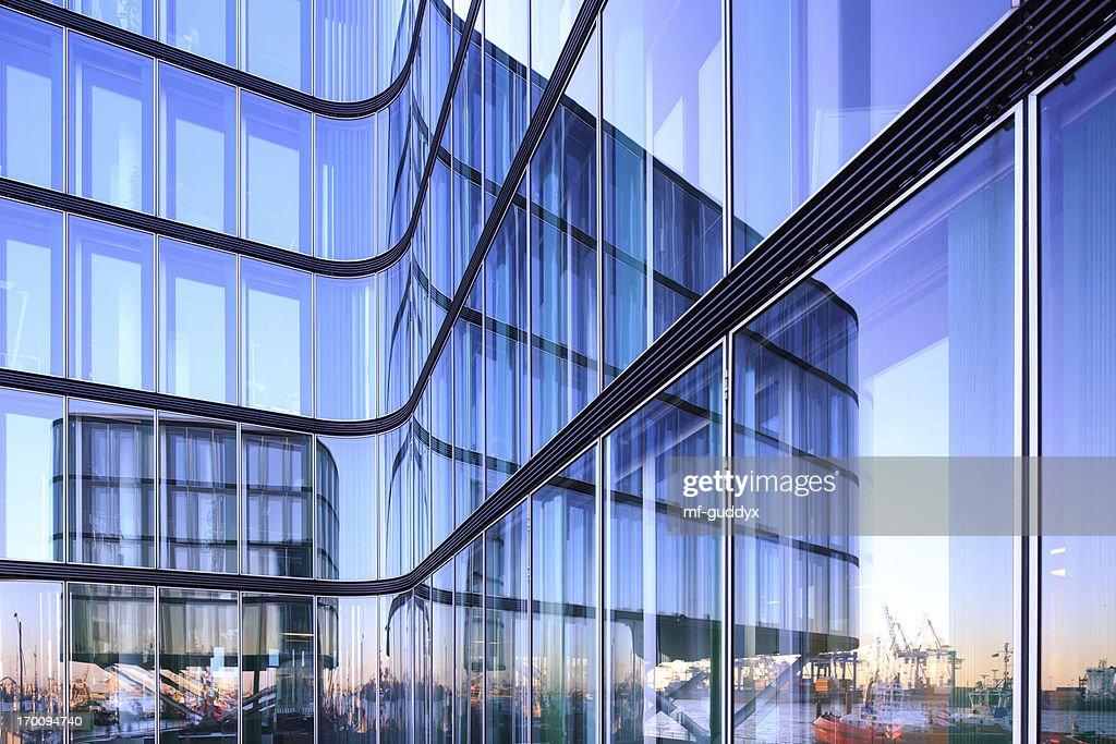 Hamburg harbor in a reflection : Stock Photo