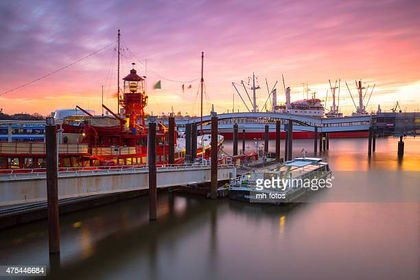 Hamburg harbor in long exposure