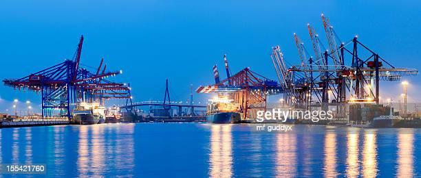 hamburg harbour container terminal - köhlbrandbrücke stock photos and pictures
