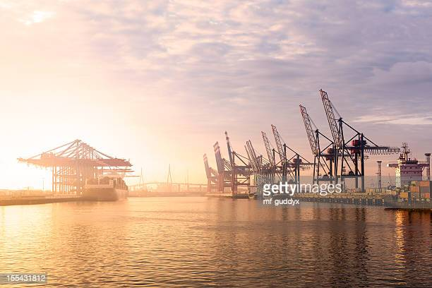 hamburg harbour container terminal - commercial dock stock pictures, royalty-free photos & images