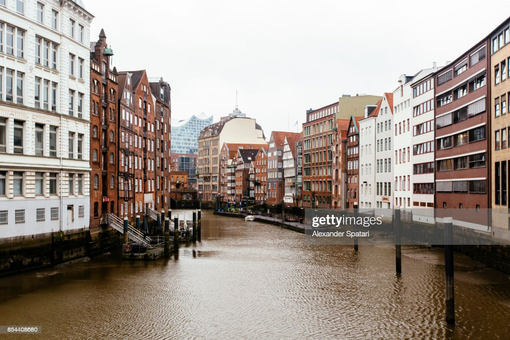 Hamburg historic district with old buildings along the canal, Germany : Stock Photo