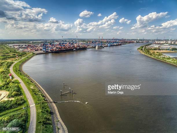 hamburg industrial area aerial view - köhlbrandbrücke stock photos and pictures