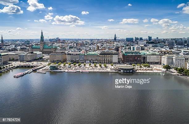 Hamburg Inner Alster Lake Aerial View HDR