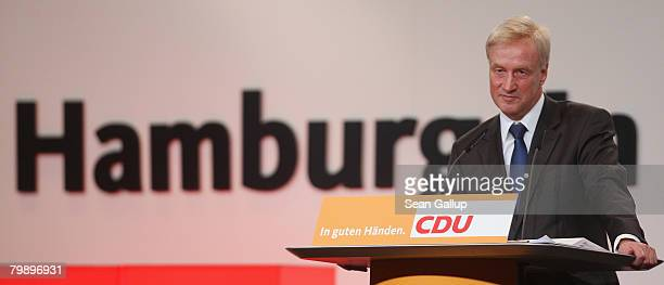 Hamburg Mayor and incumbent candidate Ole von Beust speaks to supporters at the final election rally of the German Christian Democrats in Hamburg...