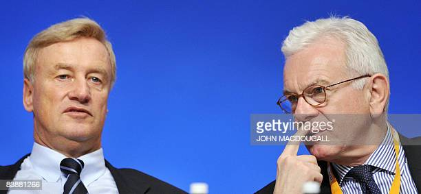 Hamburg Mayor Ole von Beust chats with the President of the European Parliament HansGert Poettering during the annual congress of the Christian...