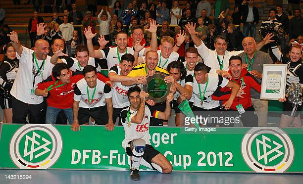 Hamburg Panthers/SC Concordia celebrate first place in the DFB Futsal Cup 2012 on April 21, 2012 in Luebeck, Germany.