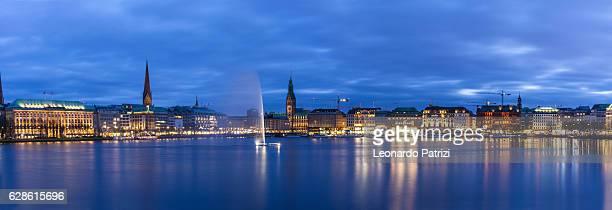 Hamburg skyline and fountain in the Lake Binnenalster
