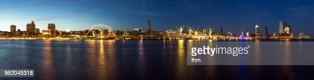 hamburg skyline panorama at night (germany) - elbe river stock photos and pictures