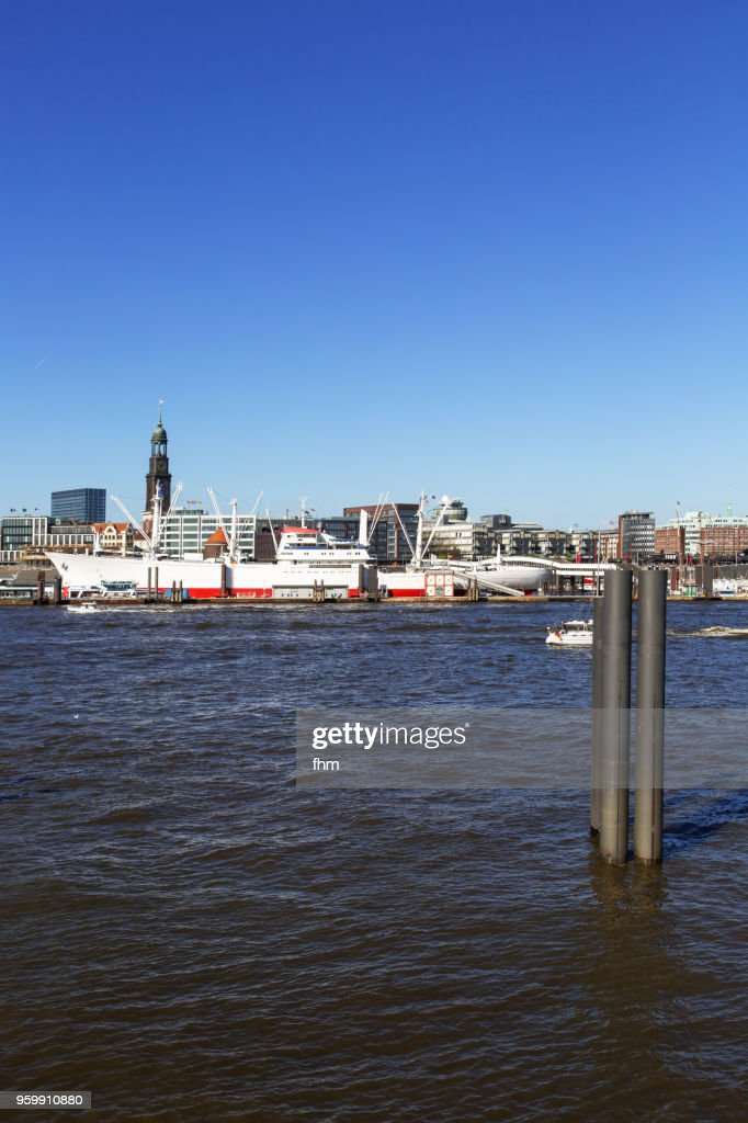 Hamburg skyline - St. Michaelis church with historic museum ship (Hamburg, Germany) : Stock Photo
