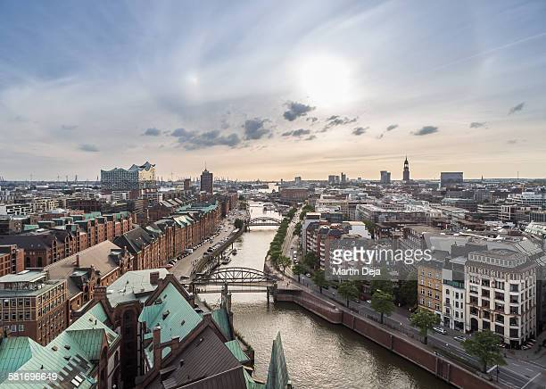 hamburg speicherstadt and hafencity aerial view - hamburg germany stock pictures, royalty-free photos & images