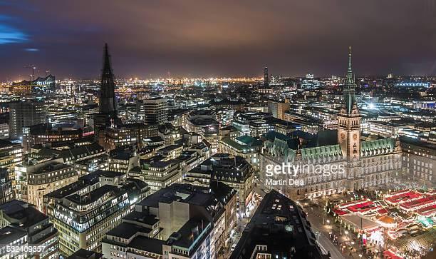 Hamburg Town Hall with Christmas Market