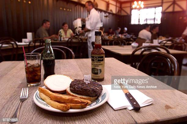 Hamburger at Peter Luger's Steakhouse in Brooklyn.