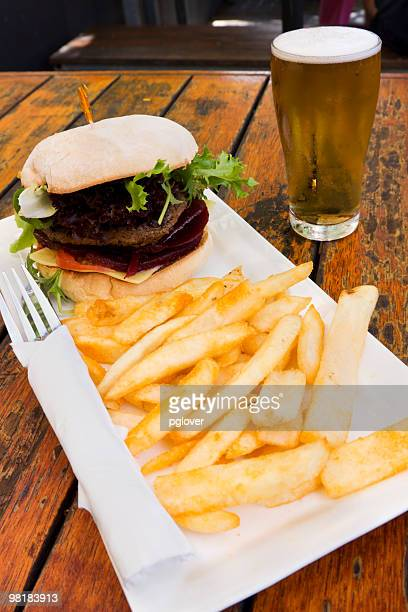Hamburger chips and beer