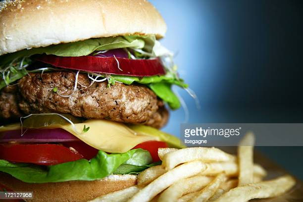 Hamburger Close up on blue