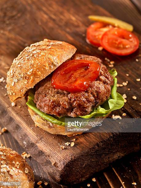 Hamburger on a Rustic Wood Cutting Board