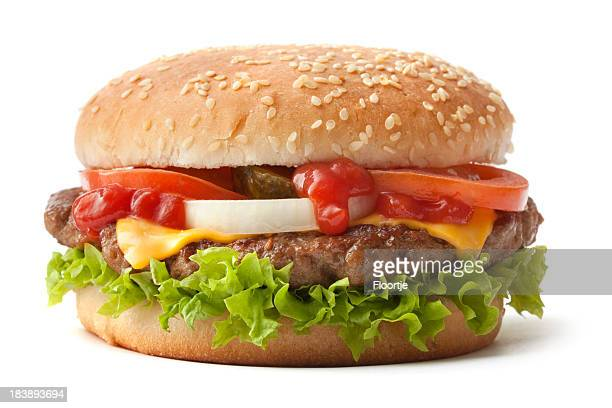 hamburger on sesame seed bun with fixings - cheeseburger stock pictures, royalty-free photos & images