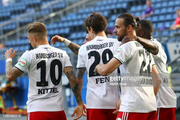 Hamburger SV celebrate with Martin Harnik of Hamburger SV after he scored the opening goal during the Second Bundesliga match between Hamburger SV...