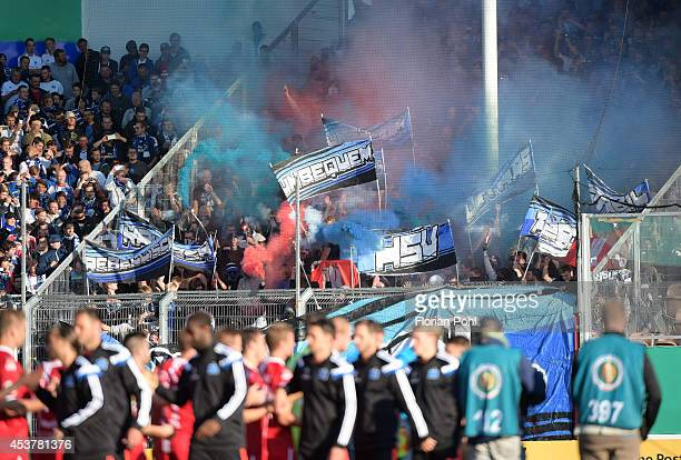 Hamburger SV Fans show their support ahead of the DFP Cup first round match between Energie Cottbus and Hamburger SV at Stadion der Freundschaft on...