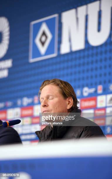 Hamburger SV head coach Gisdol speaking to the media during a press conference after the German Bundesliga soccer match between Hamburger SV and 1...
