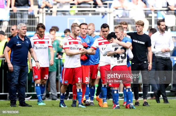 Hamburger SV players look dejected after the Bundesliga match between Hamburger SV and Borussia Moenchengladbach at Volksparkstadion on May 12 2018...