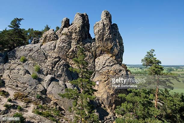 hamburger wappen sandstone formations, part of the devil's wall, teufelsmauer, near timmenrode, harz, saxony-anhalt, germany - sandstein stock-fotos und bilder