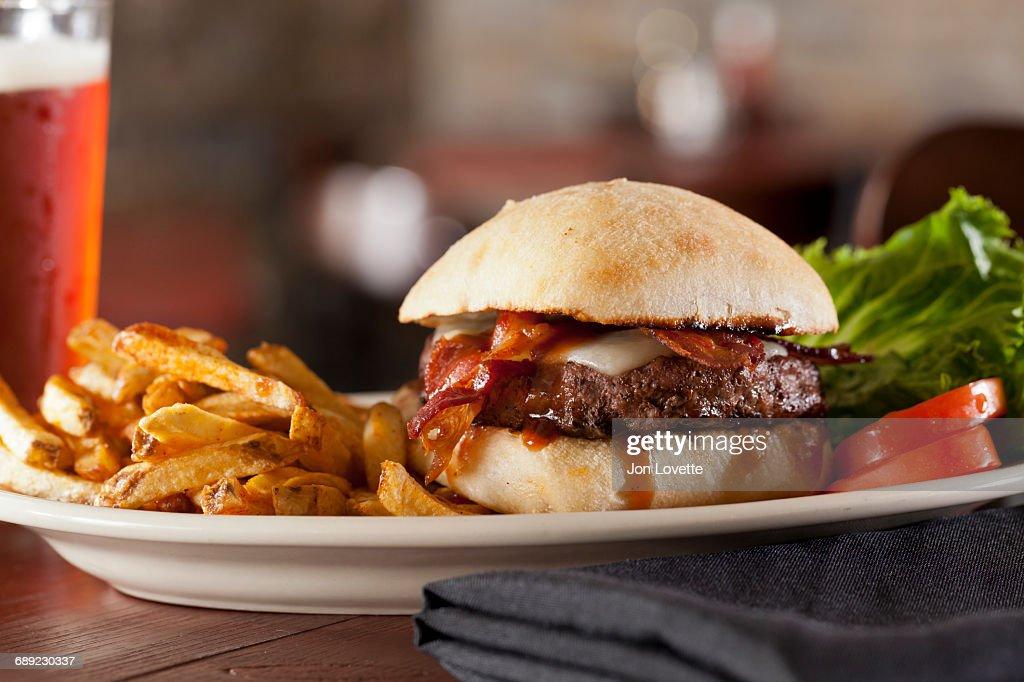 Hamburger with cheese and bacon : Stock Photo