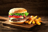 Hamburger with cheese and french fries