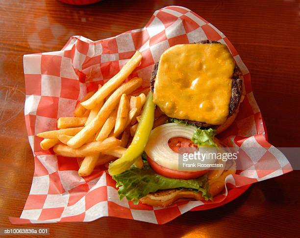 Hamburger with cheese and fries