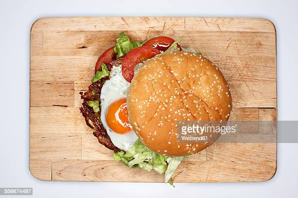 Hamburger with fried eggs, elevated view