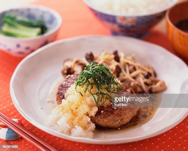 hamburger with japanese radish - shimeji mushroom stock pictures, royalty-free photos & images