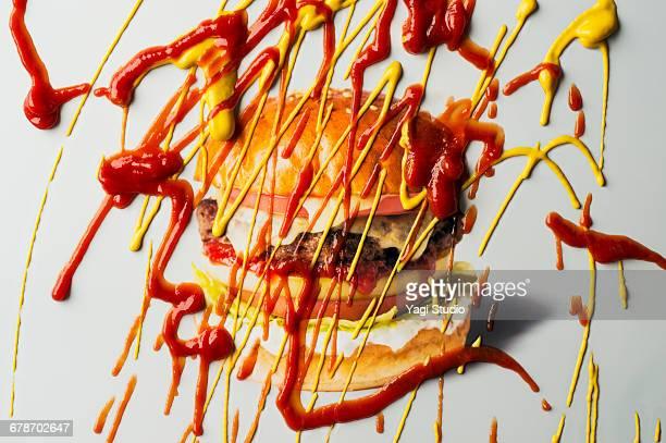 Hamburger with Ketchup and mustard