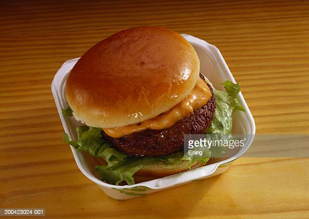 hamburger with russian sauce - carton stock photos and pictures