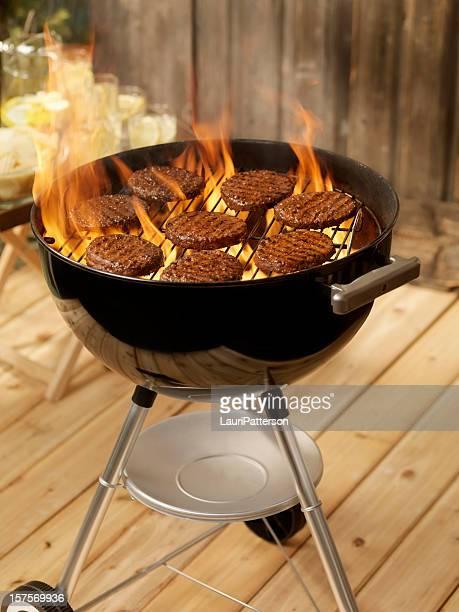 Hamburgers on a Charcoal BBQ
