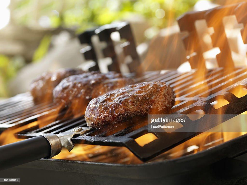 Hamburgers on an Outdoor Grill : Stock Photo