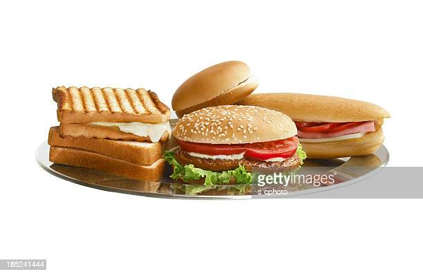 Hamburgers, Toasts and Sandwich On The Metal Tray