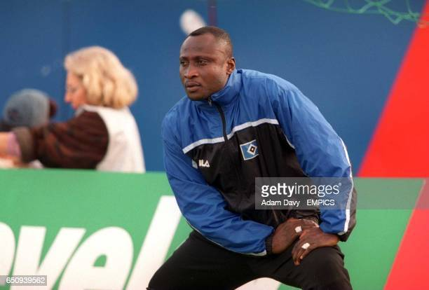 SV Hamburg's Anthony Yeboah warms up on the sideline
