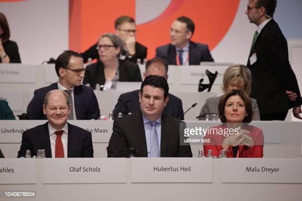 Hamburgs Bürgermeister Olaf Scholz Hubertus Heil Malu Dreyer Deutschland Berlin Ordentlicher SPDBundesparteitag