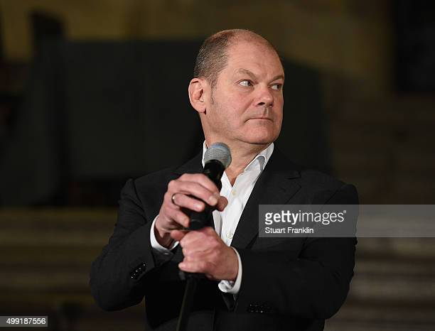 Hamburg's Burgermeister Olaf Scholz at the Rathaus as the results of the referendum on Hamburg's 2014 Olympic games application bid are announced on...