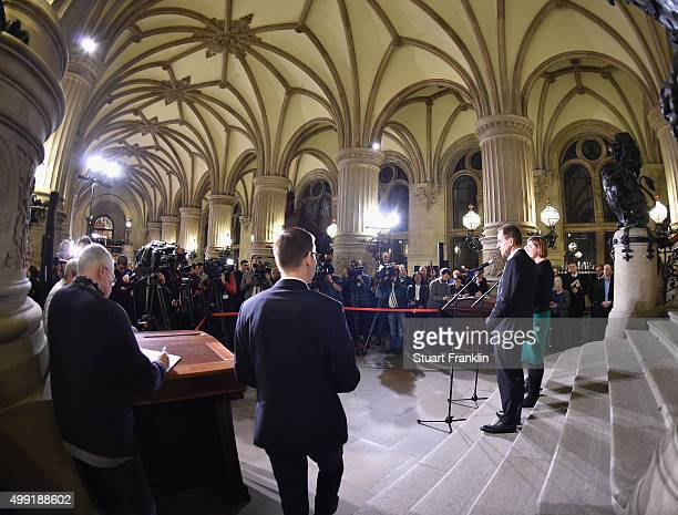 Hamburg's Burgermeister Olaf Scholz Katharina Fegebank and Alfons Hörmann DOSB president at the Rathaus as the results of the referendum on Hamburg's...