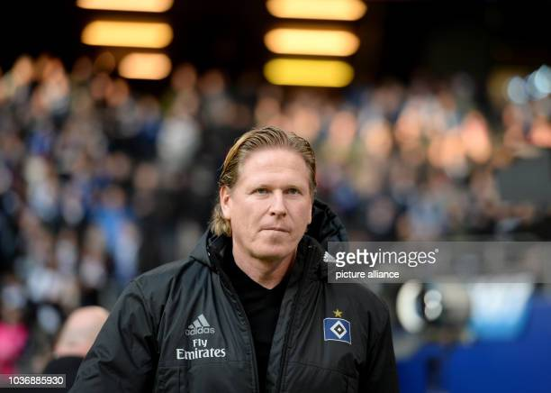 Hamburg's coach Markus Gisdol photographed before the German Bundesliga soccer match between Hamburger SV and Borussia Moenchengladbach in the...