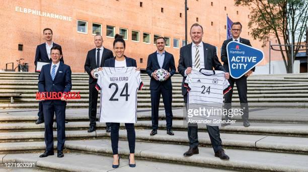 Hamburg's Department of Sport acting director Jonas Leder UEFA Events SA CEO Martin Kallen DFB EURO GmbH executive director Markus Stenger DFB EURO...