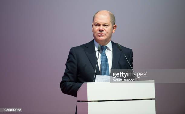 Hamburg's First Mayor Olaf Scholz delivers a speech at the official inaugural cermony of the 'Amrumbank West' offshore wind park in Hamburg Germany...