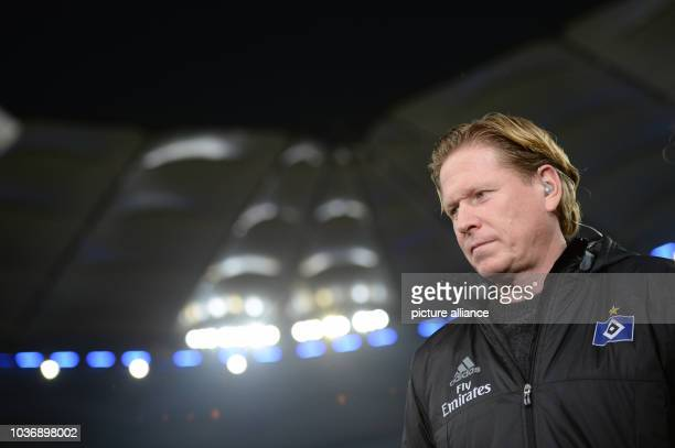 Hamburg's headcoach Markus Gisdol during an interview before the German Bundesliga soccer match between Hamburger SV and SC Freiburg at the...