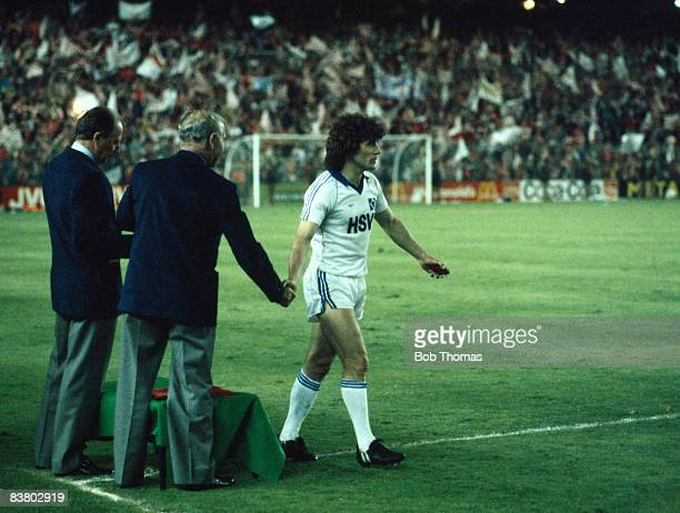 SV Hamburg's Kevin Keegan collects his medal after the European Cup Final against Nottingham Forest at the Bernabeu Stadium in Madrid 28th May 1980...