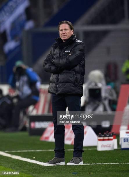 Hamburg's manager Markus Gisdol on the sidelines at Bundesliga match Hamburg SV 1 FC Cologne in Hamburg Germany 20 January 2018 Photo Daniel...