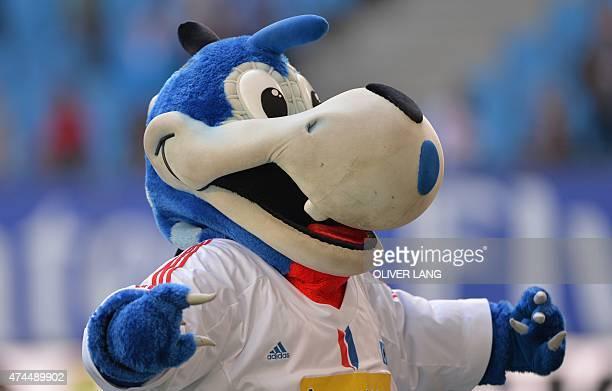 Hamburg's mascot Hermann react after German first division Bundesliga football match between Hamburg SV and FC Schalke 04 at the Imtech Arena in...